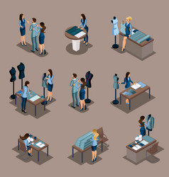 isometric girl tailor a set of mini concepts for vector image