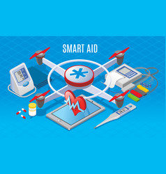 isometric modern gadgets in medicine concept vector image