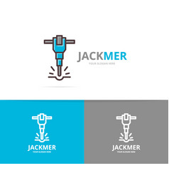 jackhammer and construction logo design vector image