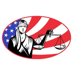 Lady holding justice scales vector