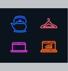 Laptop teapot and cloakroom icons online vector