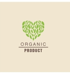 Leaf Heart Above Text Organic Product Logo vector