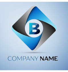 Letter B logo symbol in the colorful rhombus vector image
