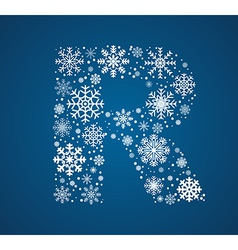 Letter R font frosty snowflakes vector