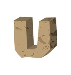 Letter u stone font rock alphabet symbol stones vector