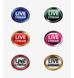 Live stream icon button set vector