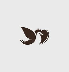 logo love bird icon line art picture vector image