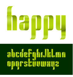 lowercase letters font from a green ribbon with vector image