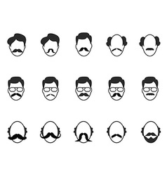man with beard and mustache icons set vector image