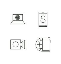 Media outline icons set vector