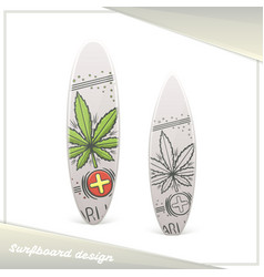 Medical marijuana surfboard seven vector
