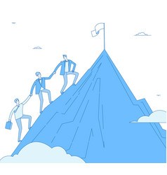 men climb mountain success leader with team go up vector image