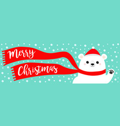 merry christmas banner white polar bear waving vector image