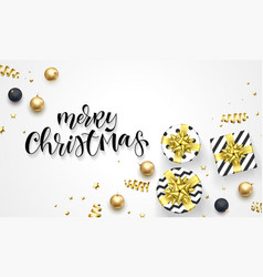 merry christmas holiday greeting card hand vector image