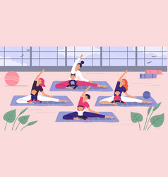 mothers with kids yoga group vector image