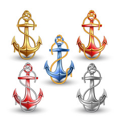 Nautical anchors isolated on white background vector