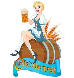 Oktoberfest girl on keg vector