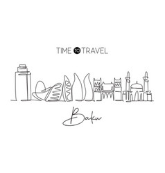 one continuous line drawing baku city skyline vector image