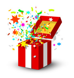 open red gift box with surprise confetti isolated vector image