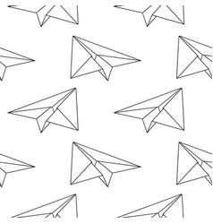 paper planes black and white seamless pattern vector image