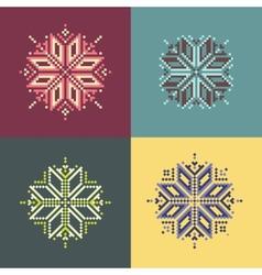 Pixel Snowflakes vector image