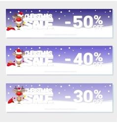 Poster Christmas sale with funny Santa Deer vector image