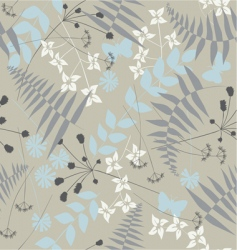Retro floral seamless background with butterflies vector
