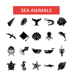 sea animals thin line icons linear vector image