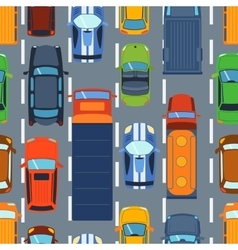 Seamless pattern with colorful cars on road vector image