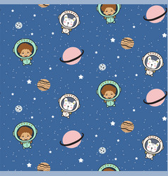 Seamless pattern with cute boy astronauts and vector