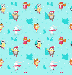 seamless pattern with cute ice skating vector image