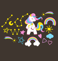 set beautiful unicorn elements on dark vector image