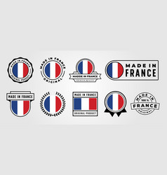 set made in france quality emblem logo symbol vector image