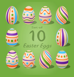 set of 10 easter eggs striped and dots collection vector image