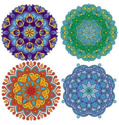 set of 4 mandalas vector image