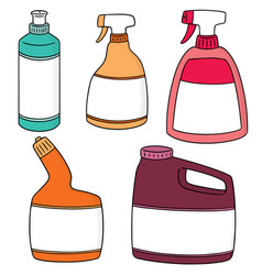 Set of bathroom cleaning solution vector