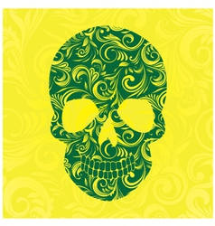 Skull Swirl Ornament Yellow vector image