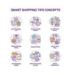 Smart shopping tips concept icons set vector