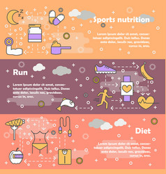 Sport food concept flat line art banner set vector