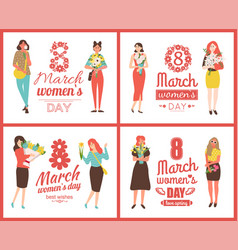 spring womens holiday flowers and girls vector image
