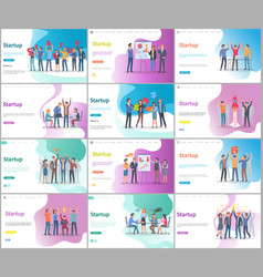 startup presentation on conference with investors vector image