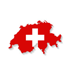 Switzerland flag map with shadow effect vector