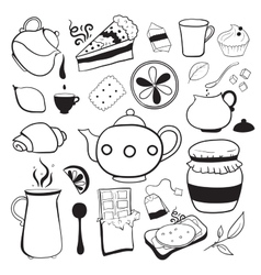 Tea and sweets black and white objects vector