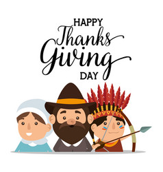 thanks giving card with pilgrim couple and native vector image