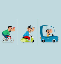 three men on different vehicles vector image