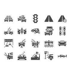 traffic jam icon set vector image
