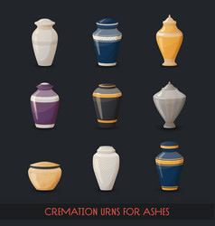 Urns for cremations vase for cremated body ashes vector