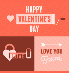 valentine day card and background set vector image