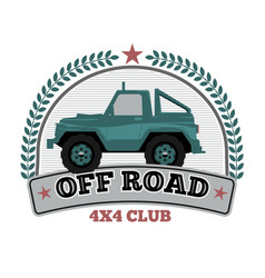 vintage off road car logo template with wreath and vector image
