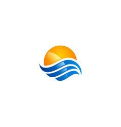 Water wave ocean sunset icon logo vector